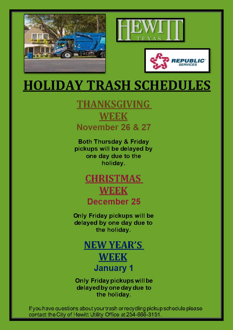 Holiday Trash Schedule