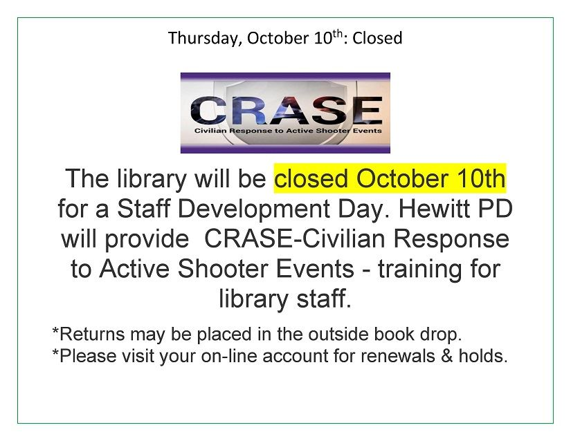 Crase library closed